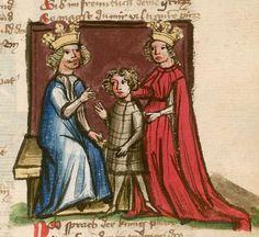 Jansen Enikel, Jans: Weltchronik Bayern-Österreich, 1. Hälfte 15. Jh. Cgm 250 Folio 129