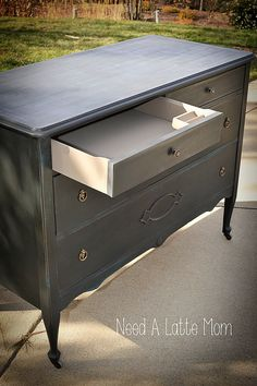 Annie Sloan Chalk Paint Graphite with Aubusson Blue Underneath