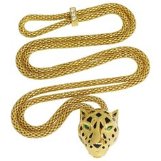 Panthére De Cartier Garnet Gold Panther Necklace | From a unique collection of vintage choker necklaces at https://www.1stdibs.com/jewelry/necklaces/choker-necklaces/