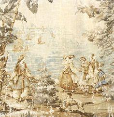 "Front bedroom bedspread Width: 54"" Description: Vintage toile print on a linen like textured fabric / 5th Avenue Designs for Covington"