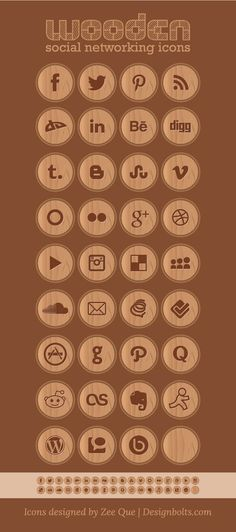 35 Wooden Free Social Networking Icons | 256 PNGs & Vector .ai