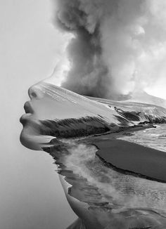 """Hypnotic Fusion of Portraits by Antonio Mora - """"Spanish photographer Antonio Mora fuses standard portraits with landscape, animal, and abstract photography, resulting in extraordinary combinations. Double Exposure Photography, Abstract Photography, Monochrome Photography, Creative Photography, Landscape Photography, Portrait Photography, Photomontage, Photoshop, Exposition Multiple"""