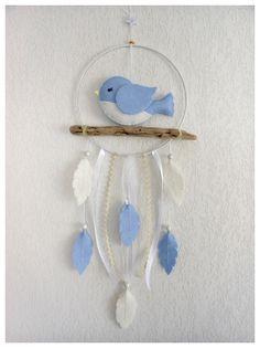 Attrape-rêves Oiseau et bois flotté pour décoration chambre de bébé ou d'enfant Idée cadeau naissance baptême anniversaire : Jeux, peluches, doudous par histoire-de-pitchouns