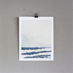 Ocean beach print limited edition of 10 11x14 blue cream. $25.00, via Etsy.