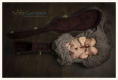 twin boys in a guitar case, cutest pose idea By Bobbi Carpino Photography