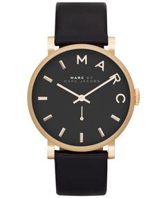 Women's Marc Jacobs Baker Black Leather Strap Watch MBM1269