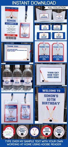 Hockey Printables, Invitations & Decorations inspirations for a party