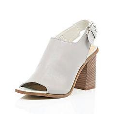 Grey leather block heel slingbacks £55.00 Grey Leather, Shoes Heels Boots, Block Heels, Heeled Mules, Slingbacks, Wedges, River Island, Boots Women, Clothes