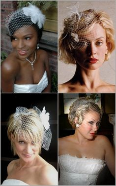 short hair bridal hairdos with birdcage