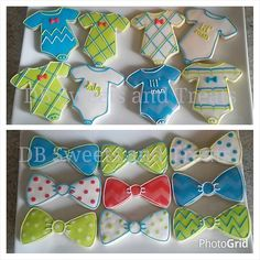 Lil' man cookies to celebrate a new baby boy! #sugarcookies #royalicing #decoratedcookies #onesies #bowtiecookies #onesiecookies #babyboycookies #babyshowercookies #newyorkbound #chevron #polkadots