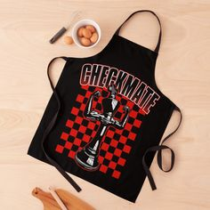"""Checkmate Black King Chess Player Grandmaster Winner Red"" Apron by GrandeDuc 