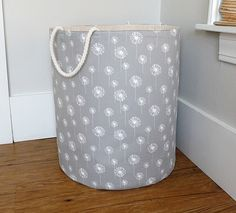 "Extra Large Fabric Storage Hamper, Laundry Basket, Grey Dandelion Fabric Organizer, Toy or Nursery Basket, Storage Bin - 20"" Tall by littlehenstudio on Etsy https://www.etsy.com/uk/listing/287717187/extra-large-fabric-storage-hamper"