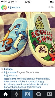 Hand painted Regular Show Shoes.