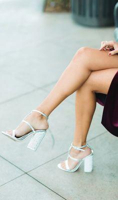 silver party heels