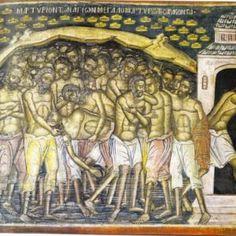 Οι Άγιοι Σαράντα και το θαύμα στο Γομάτι Χαλκιδικής - ΕΚΚΛΗΣΙΑ ONLINE Painting, Painting Art, Paintings, Painted Canvas, Drawings