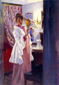 Peder Severin Krøjer (Danish, 1851-1909)   - Interior with the Artist's Wife, 1889