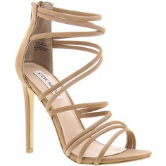 Steve Madden Santi Women's Tan Sandal 7.5 M ($110) ❤ liked on Polyvore featuring shoes, sandals, tan, suede shoes, sexy stilettos, tan suede sandals, sexy shoes and high heel sandals