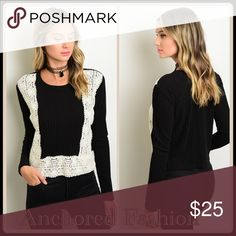 Black Sweater with Cream Embroidery Panels 96% Polyester, 4% Spandex. This top is so cute! Sweaters Crew & Scoop Necks