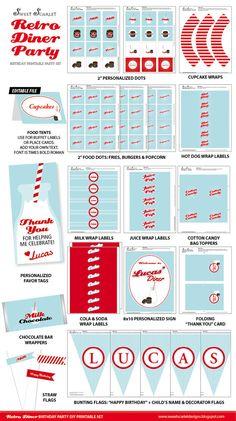 RETRO Diner Party Printable Set  Cupcake by SweetScarletDesigns, $40.00
