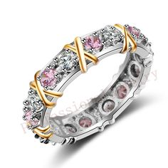 Size 5-11 Handmade Luxury Brand Jewelry Overlay  925 Sterling silver Pink sapphire CZ Diamond Wedding Gold Rings for Women gift