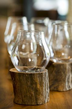 SDA Decoration Illusion Drinking Glass, Mouth-blown glass on a piece of raw wood