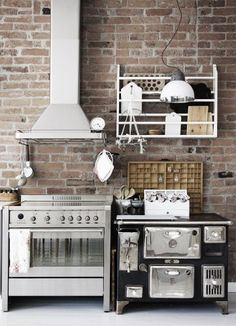 Industrial Kitchen Combine Stainless Steel and Nature Wood ...