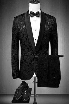 Floral One Button Mens Black Wedding Suit - Fashion & Dresses Mens Casual Suits, Dress Suits For Men, Men Dress, Mens Suits, Prom Suits For Men, Suits Usa, Suits Women, Black Suit Wedding, Wedding Men