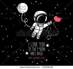 cute hand drawn astronaut with heart, moon and stars floating in space, card for love hand valentine's day, cosmic vector illustration - stock vector