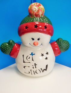 Let it snow! snowman light up votive