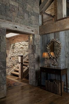 Breathtaking traditionally styled mountain home in Jackson H.-Breathtaking traditionally styled mountain home in Jackson Hole Breathtaking traditionally styled mountain home in Jackson Hole - Rustic Home Design, Rustic Homes, Country Homes, Country Decor, Mountain Homes, Stone Houses, Rustic Interiors, Log Homes, My Dream Home
