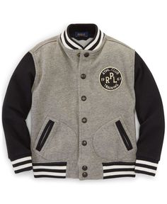 Ralph Lauren Little Boys' Weathered Fleece Baseball Jacket