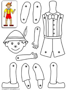A set of printable body parts which can be assembled into a Pinocchio puppet using split-pins. Pinocchio, Paper Puppets, Paper Toys, Art For Kids, Crafts For Kids, Modern Family Quotes, The Marionette, Puppets For Kids, The Mindy Project