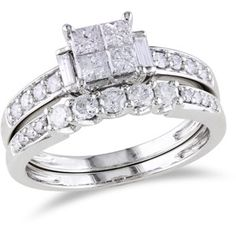 Miabella 1 Carat T.W. Princess, Round and Baguette-Cut Diamond Bridal Ring Set in 10kt White Gold $999.00