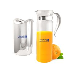 Promotional 35 oz Silver Handle Glass Carafe | Customized 35 oz Silver Handle Glass Carafe | Promotional Carafes
