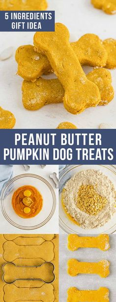 Don't forget treats for your furry friend. These Homemade Peanut Butter Pumpkin Dog Treats are made with only five natural ingredients to create a fun and easy treat for your pup! Dog Cookie Recipes, Easy Dog Treat Recipes, Dog Biscuit Recipes, Homemade Dog Treats, Pet Treats, Dog Food Recipes, Peanut Butter Dog Treats, Peanut Butter Dog Biscuits, Natural Dog Treats