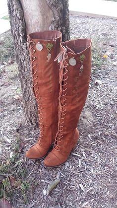 Wild Bohemian Lace Up Goddess~Dragon Viking/Salem Gypsy/Game of Thrones/Crystal Quartz GemStone Kuchi Coin Tan Brown Lace Up Boho hippie gypsy/tribal bellydance gypsy  Boots 9