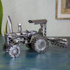Unique Mexican Recycled Metal Tractor Sculpture