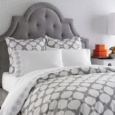 Jonathan Adler Hollywood Grey Duvet set.... and I love this headboard too!
