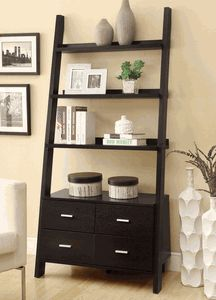 Leaning Ladder Bookshelf with 2 Drawers in Cappuccino by Coaster