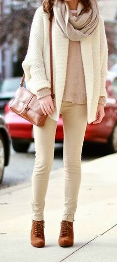 All White With Brown Bag And Boots