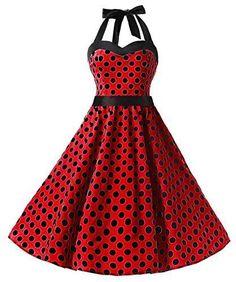 234feb014b867 Dresstells® Halter 50s Rockabilly Polka Dots Audrey Dress Retro Cocktail  Red #7N | eBay