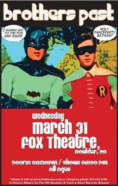 Original concert poster for Brothers Past at The Fox Theatre in Boulder, CO. 11 x 17