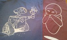 Wall-E and Eve Personalized Customized Shirts for the Disney Couple! This listing includes 2 unisex shirts in any color, perfect for wedding, honeymoon, family vacation, birthday party, or family reunion. Add names at no additional charge.  Please note: these are unisex shirts! If you would like a ladies cut tee, please send me a message!  Please see my other listings here! https://www.etsy.com/shop/SugarCoatedDreams?ref=hdr_shop_menu  Please see my reviews here! htt...