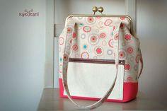 Red Canvas Shoulder Frame Bag - Linen tote bag - Colorful sunny pattern