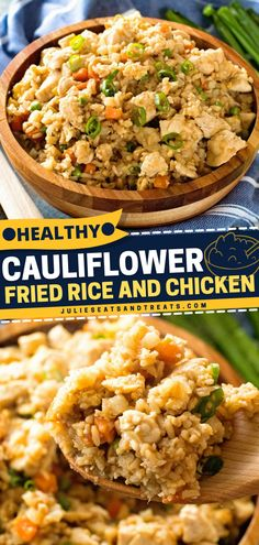 Here's a low carb, healthy dinner recipe that'll leave you feeling satisfied. Cauliflower Fried Rice and Chicken is full of flavor you'll think it's your cheat day! Try this quick and easy healthy meal! Healthy Dinner Recipes, Keto Recipes, Healthy Meals, Yummy Recipes, Cauliflower Fried Rice, Tasty, Yummy Food, Family Meals, Cravings