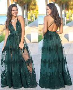 Glamorous Spaghetti Straps Long Dark Green Prom Dress With Appliques on Luulla