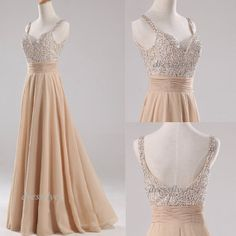 Long Straps Beads Prom Dress, Custom Sweetheart Floor Length Champagne Prom Dress Formal Dress Homecoming Dress Evening Dress