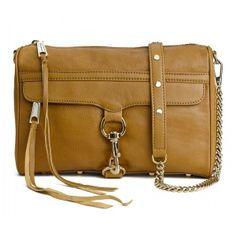 Rebecca Minkoff Mac Tan Clutch Bag With Gold Hardware