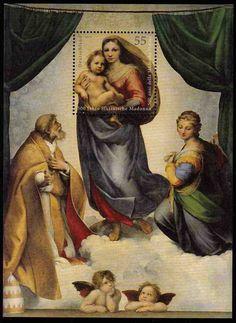 Raffaelo Santi: http://d-b-z.de/web/2013/04/06/himmlische-allegorie-briefmarken-raffaello-santi-sixtinische-madonna/