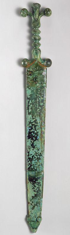 Sword, mid-1st century b.c.; Late Iron Age (La Tène) Celtic, Iron blade, copper alloy hilt and scabbard
